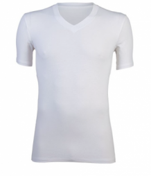 Bamboe heren shirt V-hals  - wit
